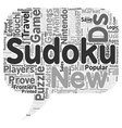 Sudoku On The Go text background wordcloud concept vector image vector image