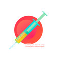 syringe with liquid on colorful round background vector image vector image