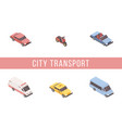 urban transport isometric banner template vector image vector image