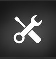 white settings tools icon on black background vector image