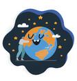 woman embracing earth globe vector image vector image
