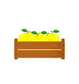 wooden box with lemons vector image