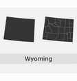 wyoming map counties outline vector image vector image