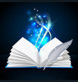 open book with mystic bright light and feather vector image