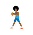 african basketball player stopped dribble with red vector image