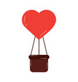 air balloon shape heart love with basket vector image vector image