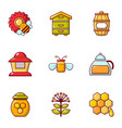 apiculture icons set flat style vector image vector image