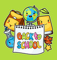 back to school kawaii design with cute education vector image vector image