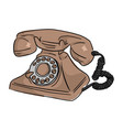 brown retro telephone sketch doodle vector image