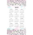calendar 2019 ethnic decorative floral folk vector image