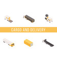 cargo delivery isometric banner template vector image vector image