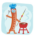 cheerful sausage - funny doodle invitation vector image vector image