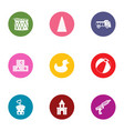 children toy icons set flat style vector image