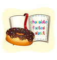 Chocolate frosted donut and a book vector image vector image