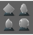 Clear glass award certificates goals team crystal vector image vector image