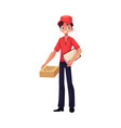 courier delivery service worker standing with vector image vector image