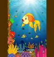 cute fish cartoon in the sea vector image