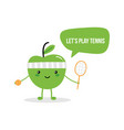 cute green apple character asking to play tennis vector image