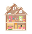 doll house with two storeys and little furniture vector image vector image