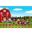 Farm scene with many children on the yard vector image vector image