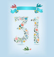 floral number thirty one with ribbon and birds vector image vector image