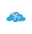flying plane in sky across clouds for vector image
