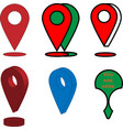 gps icons and signs in red green colours vector image