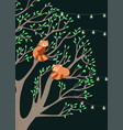 greeting card with red pandas sitting on a tree vector image