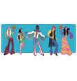 group of five wearing hippie clothes of the 60s vector image vector image
