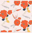 hand drawn botanical pattern with red flowers vector image