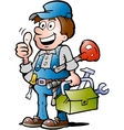 Hand-drawn of an happy Plumber Handyman giving vector image vector image
