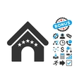 Hotel Building Flat Icon with Bonus vector image