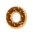letter o donut font doughnut alphabet sweet vector image vector image