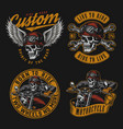 motorcycle vintage colorful emblems vector image vector image