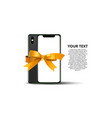 new real flat modern smartphone with ribbon vector image vector image