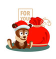 new year or christmas greeting card with dog bag vector image vector image