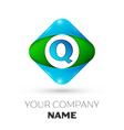 realistic letter q logo in colorful rhombus vector image vector image