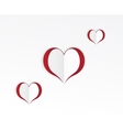 Red hearts paper sticker vector image vector image