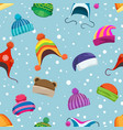 retro winter hats seamless pattern vector image vector image