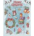 set christmas holiday items as well as vector image