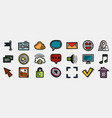 set multicolored hand drawn internet icons web vector image