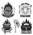 set of grill steak house emblems grilled meat vector image vector image