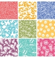 Set of nine animal seamless patterns backgrounds vector image vector image