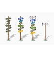 Set of the low poly navigation poles vector image