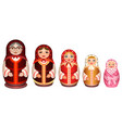 set russian wooden nesting doll traditional retro vector image vector image