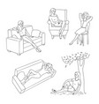 sketch young woman resting set vector image