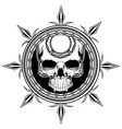skull shield hand drawingshirt designs biker disk vector image