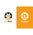 soccer and wifi logo combination ball and vector image vector image