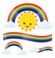 Sun rain bow cloud 002 vector image vector image