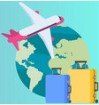traveling around world on plane attributes of vector image